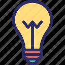 bulb, creative, creative mind, idea, pencil icon