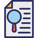file, magnifier, magnifying glass, paper, search file icon