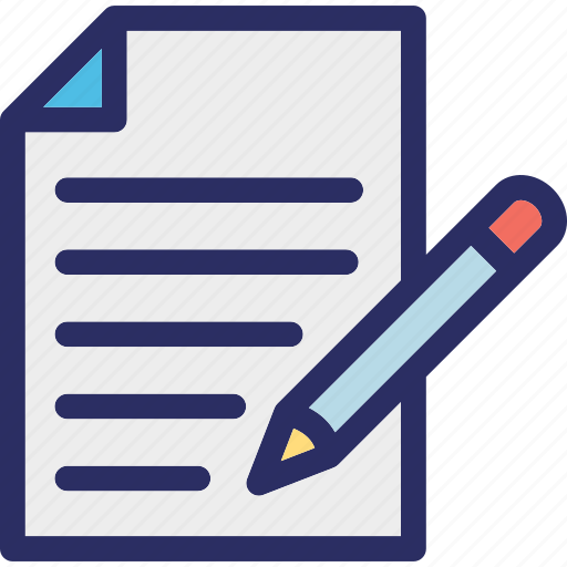 file, file editing, pencil, text sheet, writing paper icon