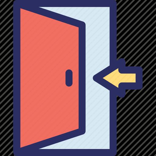 door, enter, house door, inside, open door icon