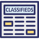 classifieds news, communication, newspaper, print media, social media icon