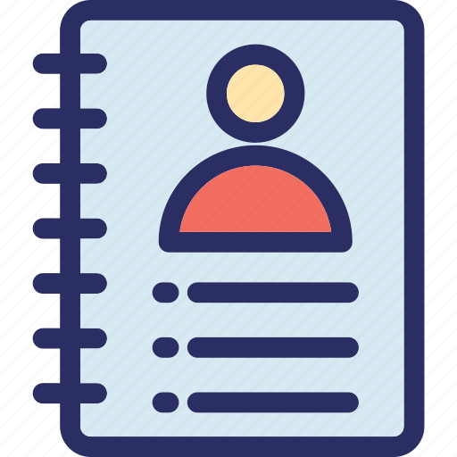 address book, contact diary, diary, education, scratch pad icon