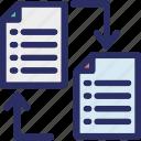 data transfer, data transform, data transforming, documents with arrows, files transfer icon