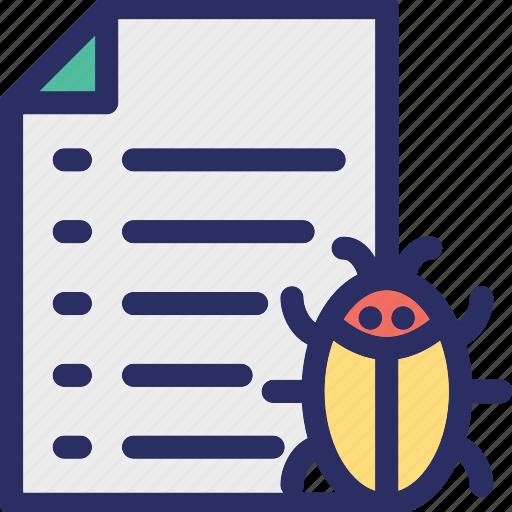antivirus, bug, computer virus, data virus, document icon