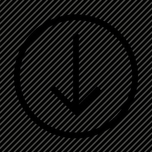 arrow, below, bottom, down, download icon