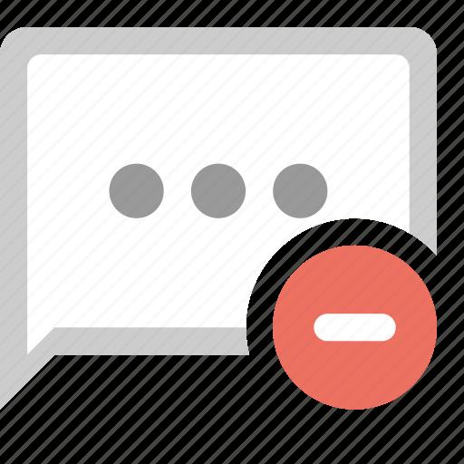 bubble, chat, delete message, minus icon