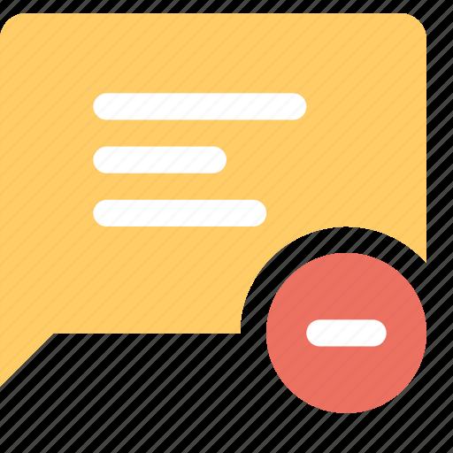 bubble, delete, message, minus, text icon