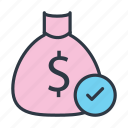 approved, check, dollar sack, money bag, money sack, pouch, sack icon icon