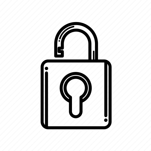 caution, open, padlock, protect, security icon