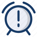 alarm, clock, notification, time, warning icon