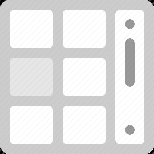 grid, grid sqaures, scroll icon