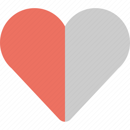 damaged, half, heart, heart damage icon