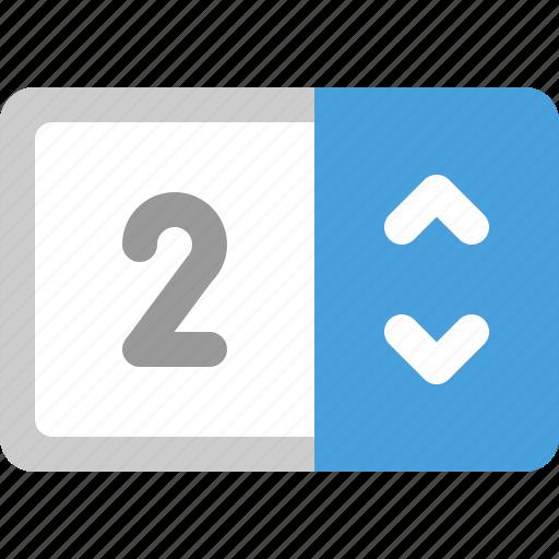 counter, numeric, stepper icon