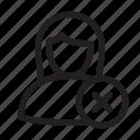 blocked, error, female, user icon