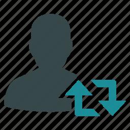 exchange, refresh, retweet, sync, twitter, update, user icon