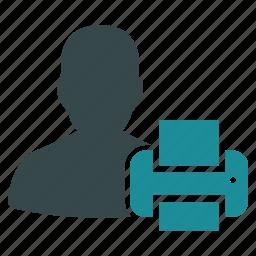 avatar, person, print, printer, printing, profile, user icon
