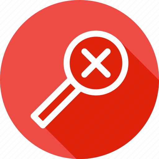 delete, find, glass, lens, magnifier, search, zoom icon