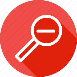 find, glass, lens, magnifier, minus, search, zoom icon
