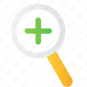 add, find, glass, lens, magnifier, search, zoomin icon