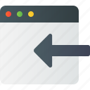 arrow, export, in, left, window icon