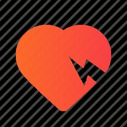 break, broken, favorite, heart, like, love, romance icon