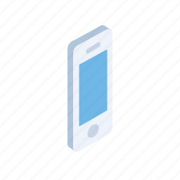 cell, communcation, grid, isometric, mobile, phone, smartphone icon