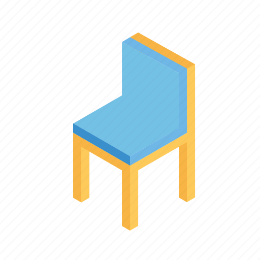 chair, furniture, grid, isometric, rest icon