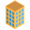 building, city, grid, high, isometric, rise, tower icon