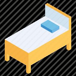 bed, bedroom, decor, furniture, interior, isometric, wooden icon