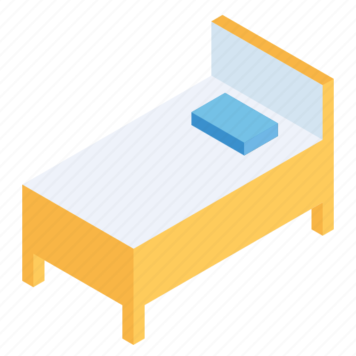 bed, bedroom, decor, furniture, interior, isometric, wooden icon
