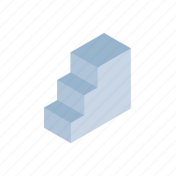 dimension, grid, isometric, projection, stair, stairs icon