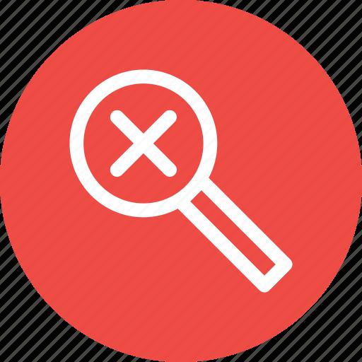 delete, glass, lens, magnifier, remove, search, zoom icon
