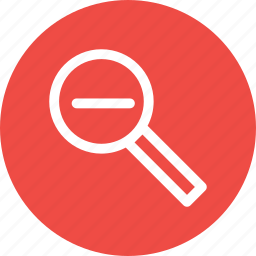 glass, lens, magnifier, minus, remove, search, zoom icon