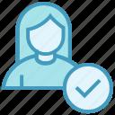 access, check, female, people, person, user icon