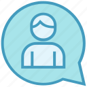 chat, male, message, stand, support, talk, user icon