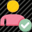access, check, male, people, person, user icon