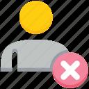 cross, male, people, person, remove, user icon