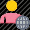 globe male, people, person, user, world icon