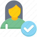 access, check, female, people, person, user icon