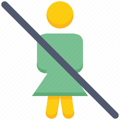 ban, female, people, person, profile, stand, user icon