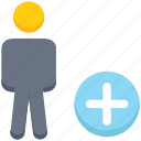 add, male, people, person, plus, stand, user icon