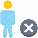 cross, male, people, person, remove, stand icon