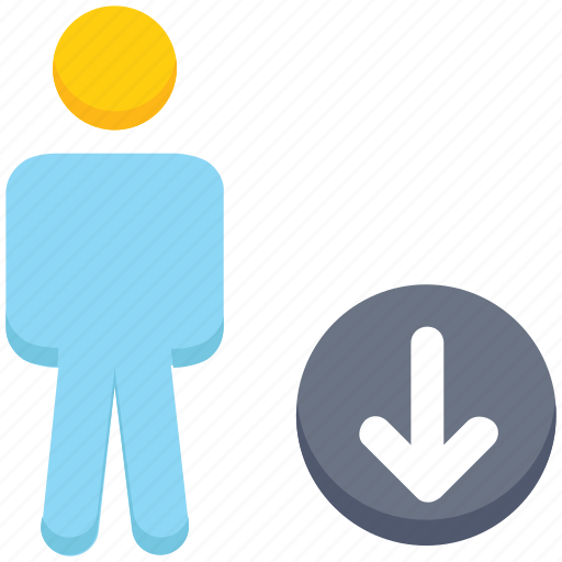 down arrow, downloading, male, people, person, stand, user icon