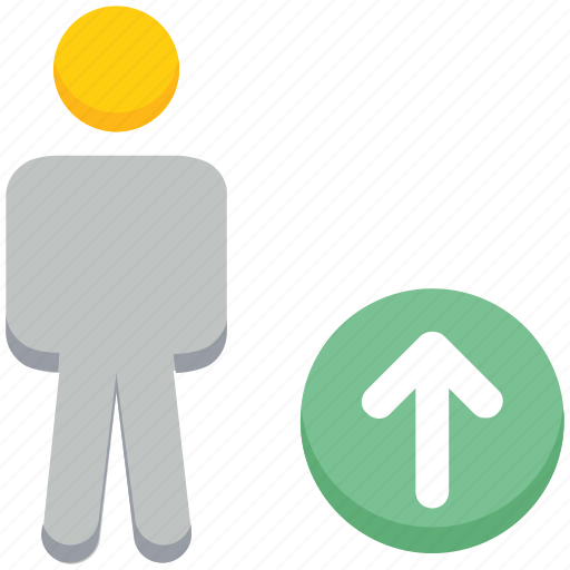 male, people, person, stand, up arrow, uploading, user icon