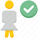 access, check, female, people, person, stand, user icon