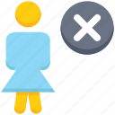 cross, female, people, person, remove, stand, user icon