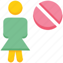 ban, female, off, people, person, stand, user icon