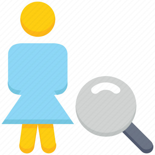 female, find, magnifier glass, people, person, stand, user icon