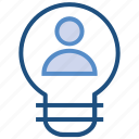 bulb, idea, light, person, user icon
