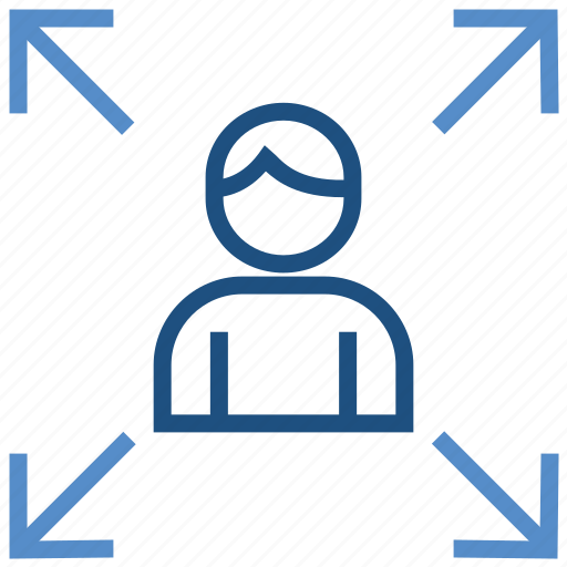 affiliate, arrows, expand, male, network, user icon
